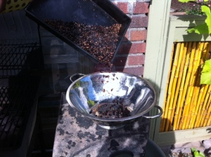 Coffee beans are finished roasting